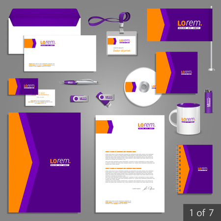 identities: Purple stationery template design with orange arrow. Documentation for business. Illustration