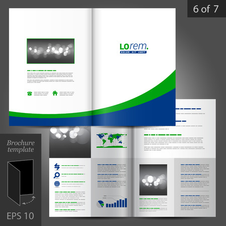 brochure template: White vector brochure template design with blue and green lines