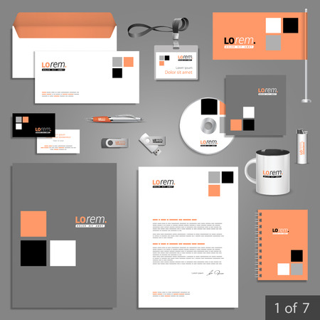 documentation: Classic stationery template design with square elements. Documentation for business.