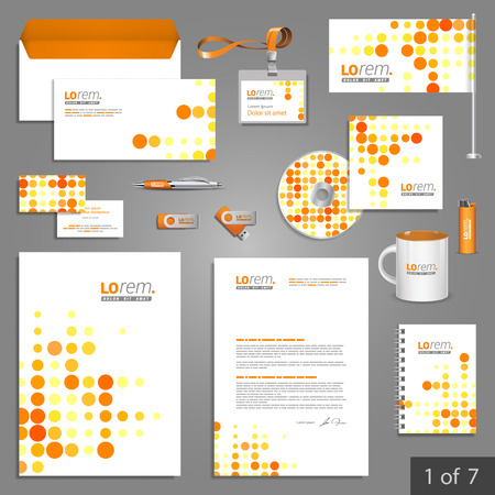 pattern corporate identity orange: Digital stationery template design with red and yellow round elements. Documentation for business.