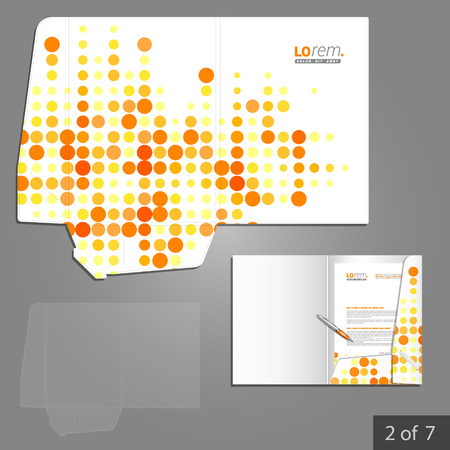 Digital folder template design for company with red and yellow round shapes. Element of stationery.