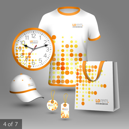 pattern corporate identity orange: Digital promotional souvenirs design for company with red and yellow round shapes. Elements of stationery.