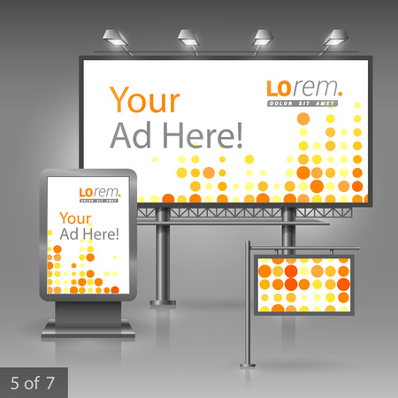 pattern corporate identity orange: Digital outdoor advertising design for company with red and yellow round shapes. Elements of stationery. Illustration