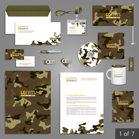 documentation: Military stationery template design with camouflage pattern. Documentation for business.