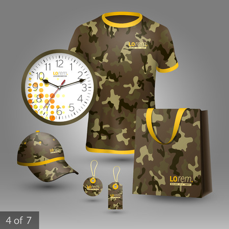 business shirts: Military promotional souvenirs design for company with camouflage pattern. Elements of stationery. Illustration