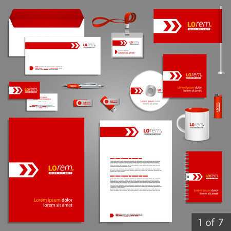 Red kantoorbehoeftenmalplaatje ontwerp met witte pijl. Documentatie voor het bedrijfsleven. Stock Illustratie