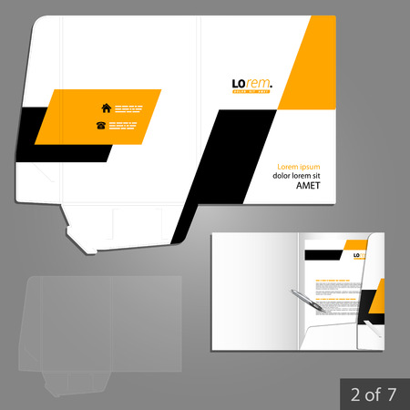 folder: Geometric folder template design for company with yellow and black square shapes. Element of stationery.