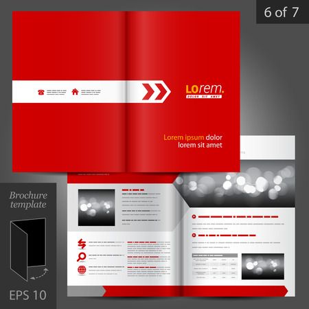 Red vector brochure template design with white arrow Illustration