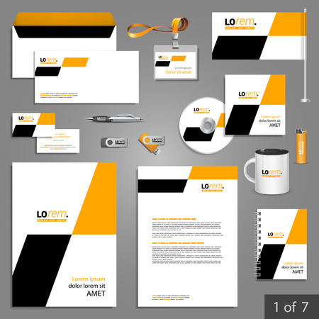 stationary: Geometric stationery template design with yellow and black square shapes. Documentation for business. Illustration