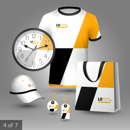 Geometric promotional souvenirs design for company with yellow and black square shapes. Elements of stationery.