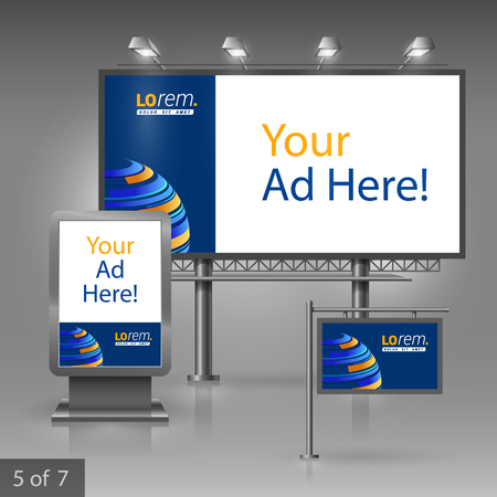 sphere standing: Blue outdoor advertising design for company with digital planet. Elements of stationery.