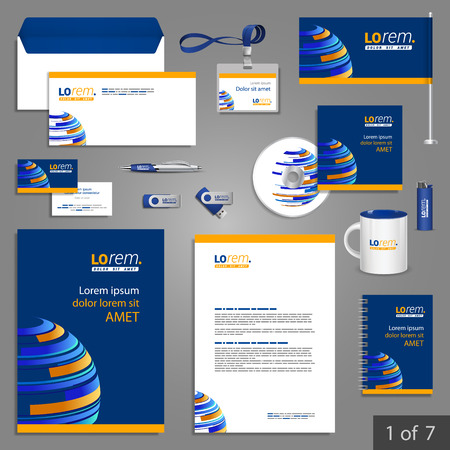 template: Blue stationery template design with digital planet. Documentation for business.