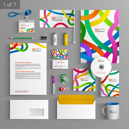 documentation: White stationery template design with color tape. Documentation for business.