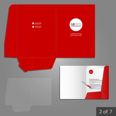 papeleria: Diseño de la plantilla de carpeta roja para la compañía con el círculo. Elemento de artículos de papelería.