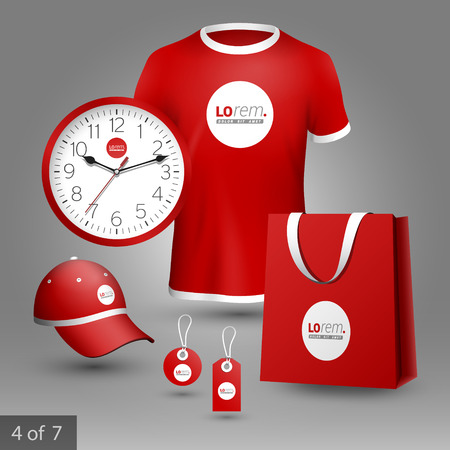souvenirs: Red promotional souvenirs design for company with circles. Elements of stationery. Illustration