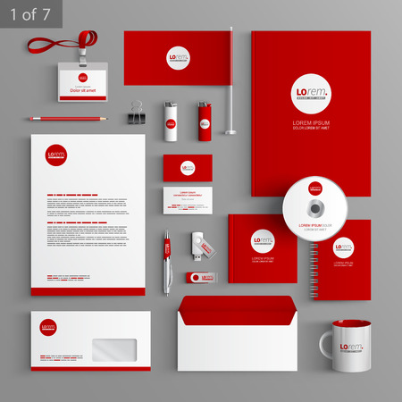 stationery: Red stationery template design with round element. Documentation for business. Illustration