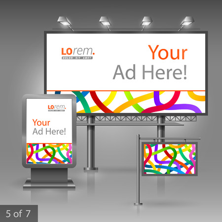 outdoor advertising: White outdoor advertising design for company with color tape. Elements of stationery.