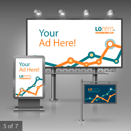 outdoor advertising: Outdoor advertising design for company with graph. Elements of stationery. Illustration