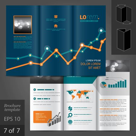 vector sample: Financial vector brochure template design with graph Illustration