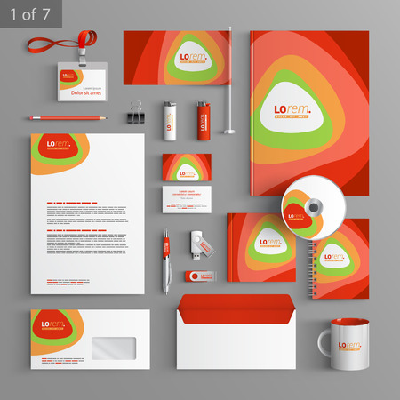 business cards design: Red stationery template design with round color elements. Documentation for business. Illustration