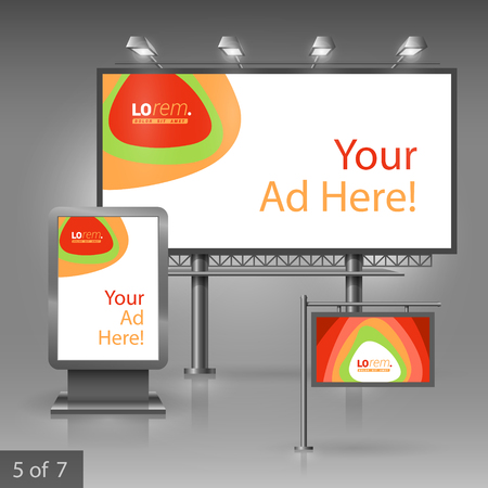 outdoor advertising: Outdoor advertising design for company with color circles. Elements of stationery.