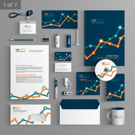 identities: Financial stationery template design with graph. Documentation for business.