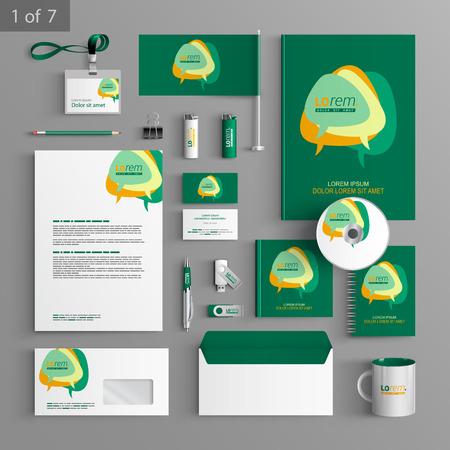 Groen kantoorbehoeftenmalplaatje ontwerp met dialoog wolken. Documentatie voor het bedrijfsleven.