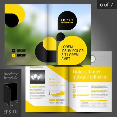 brochure template: Business vector brochure template design with black and yellow geometric elements Illustration