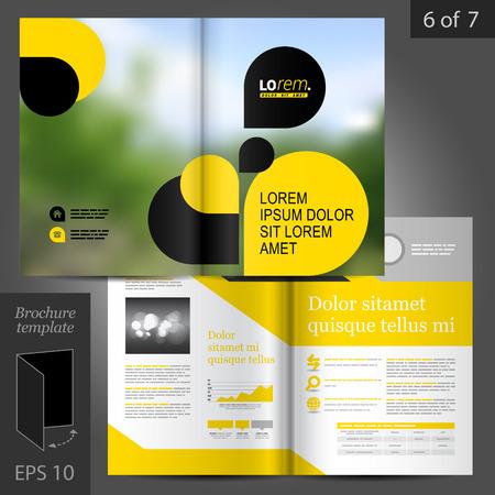 folleto: Vector de negocios de diseño de plantilla folleto con elementos geométricos negros y amarillos