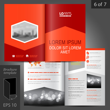 Red business vector brochure template design with arrow elements