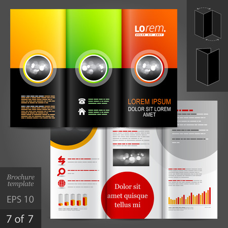 brochure template: Classic vector brochure template design with round elements