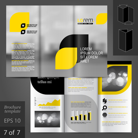city buildings: Business vector brochure template design with city, black and yellow geometric elements