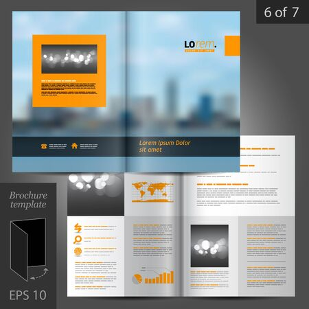 template: Blue business vector brochure template design with cityscape, black and orange design elements