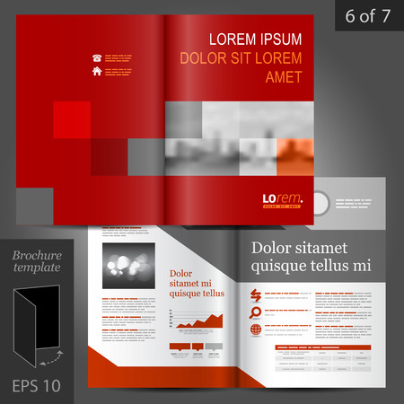 Red business vector brochure template design with geometric elements Ilustração
