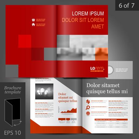 cuadrados: Vector de negocio de diseño de plantilla de folleto rojo con elementos geométricos Vectores