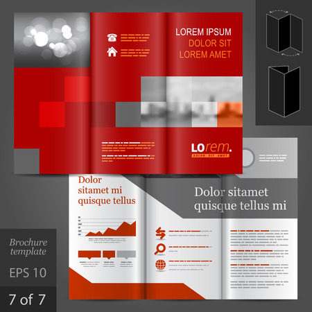 brochure template: Red business vector brochure template design with geometric elements Illustration