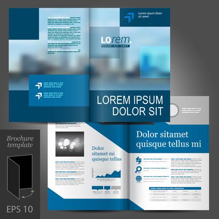 sjabloon: Blauw vector brochure template design met stadsbeeld en geometrische elementen