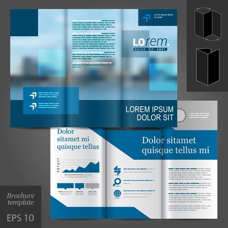 brochure template: Blue business vector brochure template design with cityscape and geometric elements Illustration