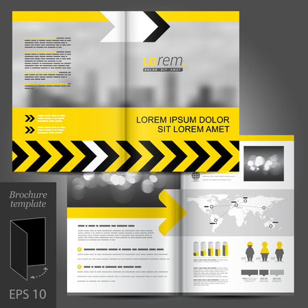 Yellow industry vector brochure template design with black arrows