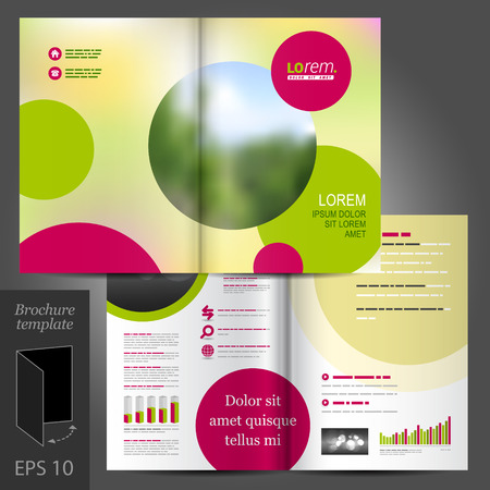 background green: Yellow vector brochure template design with purple and green round elements