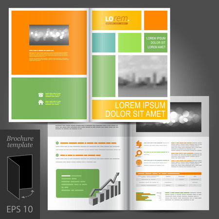 Geometric business vector brochure template design with green, yellow and orange square elements