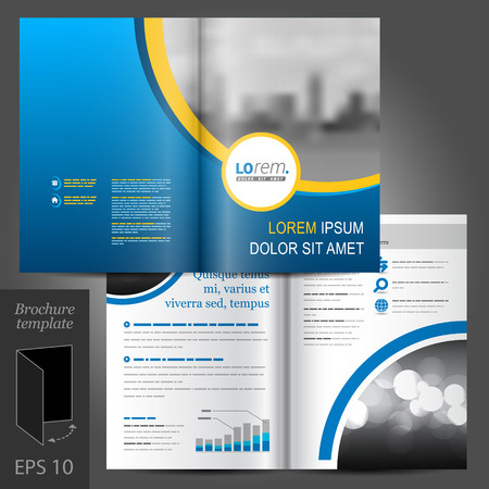 Blue business vector brochure template design with cityscape