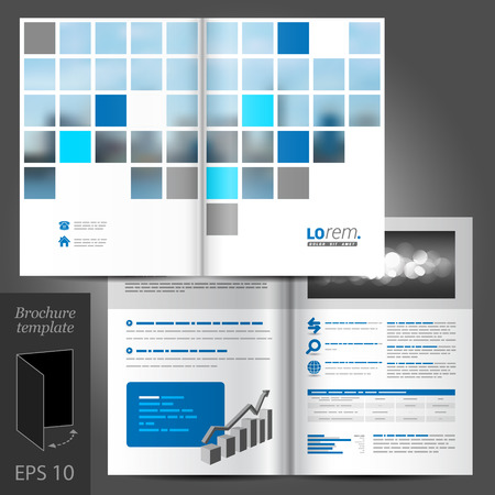 brochure template: White business vector brochure template design with blue square elements