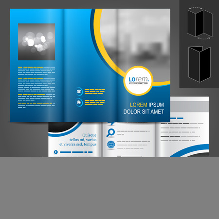 brochure template: Blue business vector brochure template design with cityscape