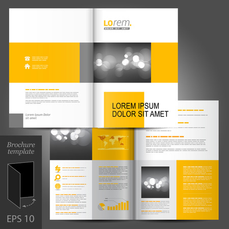 leaflet: White classic vector brochure template design with yellow geometric elements Illustration