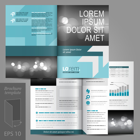 Blue business vector brochure template design with place for photo