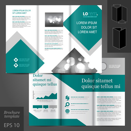Geometric business vector brochure template design with gray and blue square elements Vector