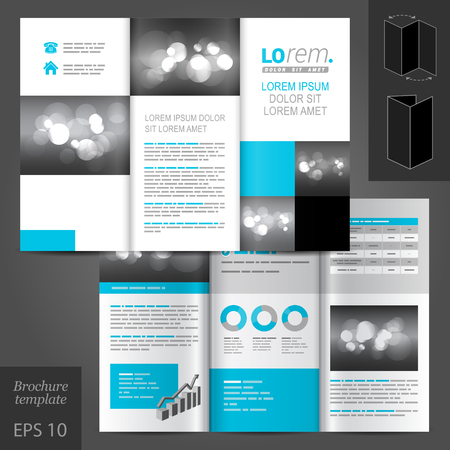vector sample: White classic vector brochure template design with blue and gray geometric elements