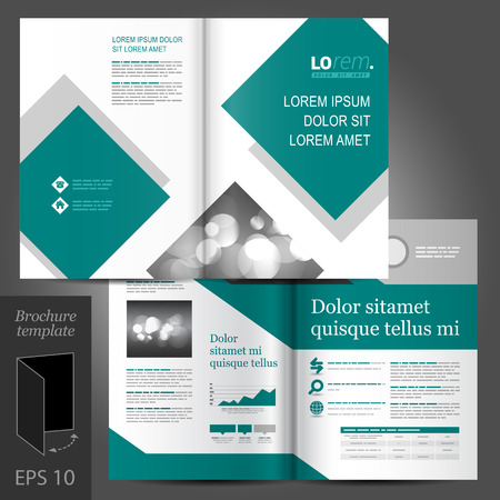 brochure template: Geometric business vector brochure template design with gray and blue square elements
