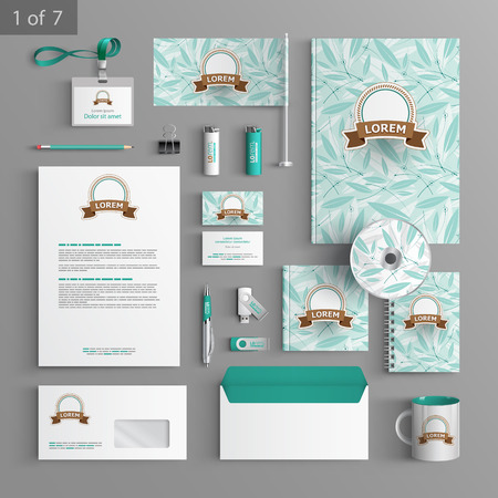 stationary set: Floral stationery template design with blue leaves. Documentation for business.